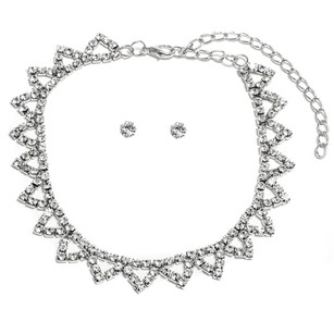Other 18K White Gold ptd Triangle Bib Choker Necklace w/Austrian Crystals