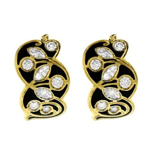 Other 18k Yellow Gold 1.00ct Diamond And Enamel Earrings