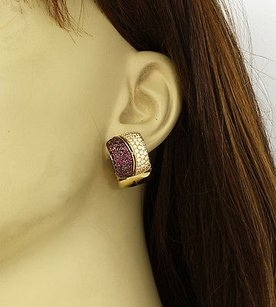 18k Yellow Gold 5.12ctw Diamonds Rubies Huggie Earrings