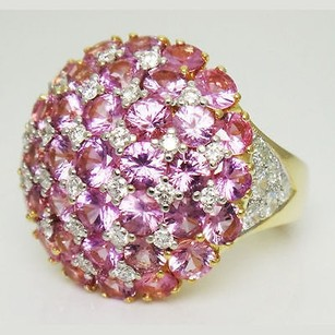 18k Yellow Gold 6.25 Carats Tcw Diamond Pink Sapphire Round Ring R59