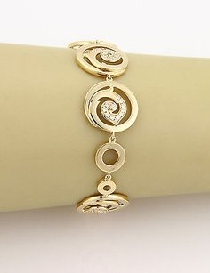 18k Yellow Gold Fancy 0.75ctw Diamond Circular Link Bracelet