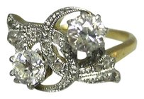 18k Yellow Gold Old European Rose Cut 12 Ct Diamond Ladies Ring 6.25