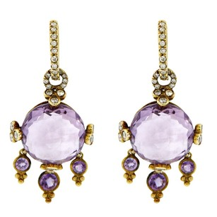 Other 18k Yellow Gold Purple Stone And Diamond Dangle Earrings