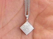 18kt Carriere Princess Cut Diamond White Gold Pendant Necklace 18 1.15ct G-vs1