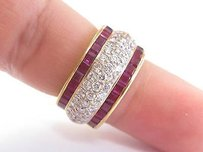 Other 18kt Gem Ruby Diamond Wide Yellow Gold Band Ring 11mm 3.26ct