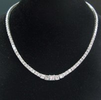 18kt Princess Cut Diamond Riviera White Gold Necklace 20.06ct Gia E Color
