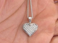 18kt Princess Cut Diamond White Gold Heart Pendant Necklace 16 1.00ct