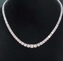 Other 18kt Radiant Cut Diamond Riviera White Gold Necklace 17 28.32ct G-vs1