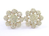 18kt Round Cut Diamond Circular Flower 2-tone Gold Earrings 126-stones 4.00ct