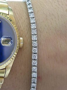 Other 18kt Round Cut Diamond Tennis Bracelet White Gold 5.01ct G-h