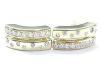 Other 18kt Round Cut Diamond Yellow Gold 2-row Earrings 1.00ct 34