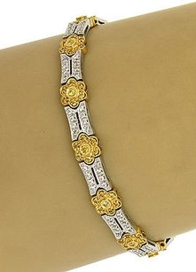 Other 18kt Tone Tone Gold 2ctw Yellow White Diamonds Floral Design Bracelet