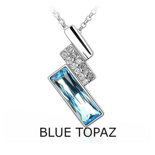 Other 18kt White Gold Plated Genuine Blue Topaz Necklace