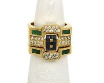 18kt Yellow Gold 1.90ctw Diamond Emerald Sapphire Stack Fitted Rings