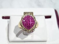 18kt Yellow Gold Invisible Set Ruby Diamond Cocktail Engagement Ring
