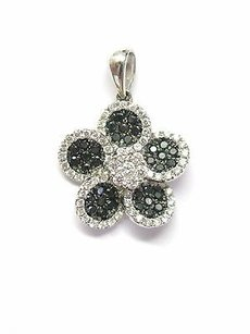 18kt Black White Diamond Flower Pendant Wg .75ct Vs2