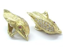 18kt Mapamenos Natepas Gem Ruby Diamond Dolphin Yellow Gold Earrings 2.42ct