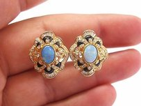 18kt Opal Onyx Diamond Huggie Earrings Yg 2.12ct
