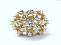 18kt Round Baguette Diamond Cluster 5-row Jewelry Ring 1.95ct