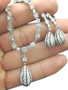 18kt Round Baguette Diamond White Gold Necklace Earrings 8.03ct