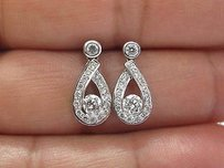 18kt Round Brilliant Diamond Drop Earrings White Gold .96ct Fvvs