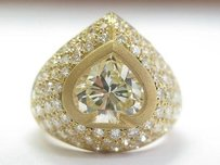 18kt Spade Shape Fancy Light Yellow Diamond Ring Yg 4.49ct