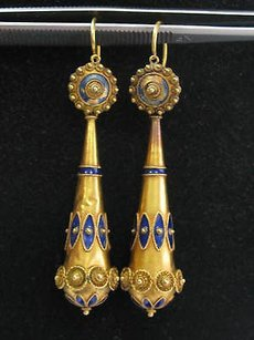 Other 18kt Vintage Blue Enamel Yellow Gold Drop Earrings 2.5