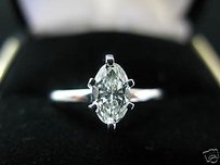 0.50ct Ladys Marquise Diamond Solitaire Ring Wg 14kt