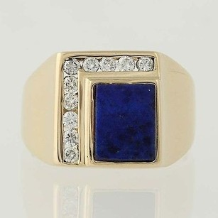 Lapis Lazuli Diamond Ring - 14k Yellow Gold Mens .30ctw
