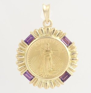 Other 1996 Liberty Coin Amethyst Pendant - 14k Yellow Gold 90 Gold Genuine .48ctw