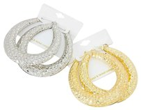 2 Pairs - Hammered metal hoop earrings