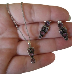 Other 2 Piece Estate Art Sterling Silver & Amethyst Necklace & Earrings Set