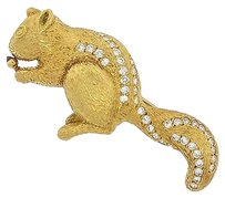 ,Vintage,18k,Yellow,Gold,Diamond,Squirrel,Brooch