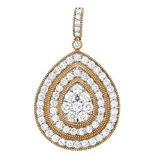 2.08ct Diamond 14k Rose Gold Tear Drop Pendant