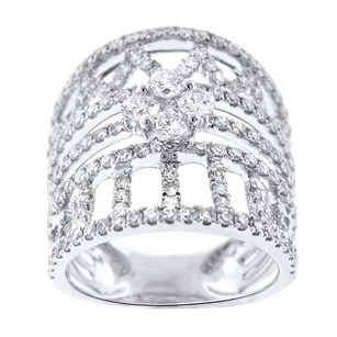 2.10ct Diamond 18k White Gold Cocktail Ring 4-10