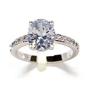2.5 Carat Cz Oval Bridal Engagement Ring #1595