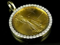 22k Solid Yellow Gold Coin Lady Liberty One Ounce Diamond Pendant Charm 3.0ct.