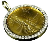 Other 22k Solid Yellow Gold Coin Lady Liberty One Ounce Diamond Pendant Charm 3.0ct.
