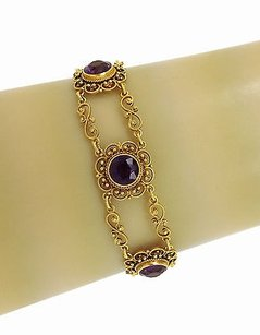 Other 22k Yellow Gold Cts Amethyst Ladies Intricate Chain Link Bracelet