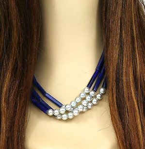 22k Yellow Gold Strand Blue Lapis Lustrous Pearls Ladies Necklace