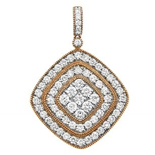 Other 2.30ct Diamond 14k Rose Gold Square Pendant