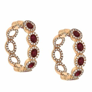 Other 2.35ct Ruby 14k Rose Gold And Diamond Hoop Earrings