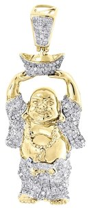 Diamond Happy Buddha Pendant .925 Yellow Gold Finish Round Pave Charm 0.88 Tcw.