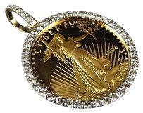 24k Solid Yellow Gold Coin Lady Liberty Half Ounce Diamond Pendant Charm 2.0ct.