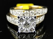 Ladies Womens White Gold Round Cut Diamond Bridal Engagement Ring Set 3.02 Ct