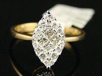 Womens Diamond Marquise Solitaire Yg Engagement Ring
