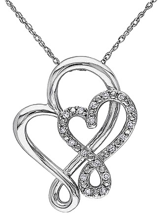 Other 10k White Gold 110 Ct Diamond Heart Crossover Infinity Pendant Necklace