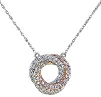 10k White Pink Yellow Gold 12 Ct Diamond Braided Circle Necklace Gh I2i3 17