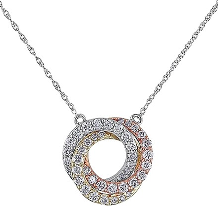 Other 10k White Pink Yellow Gold 12 Ct Diamond Braided Circle Necklace Gh I2i3 17
