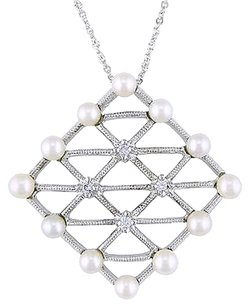 Other 14k White Gold Freshwater Pearl Diamond Geometric Pendant Necklace